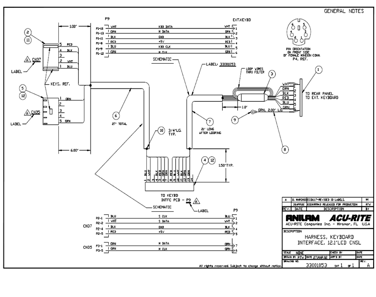 33001053 keyboard wiring harness dwg